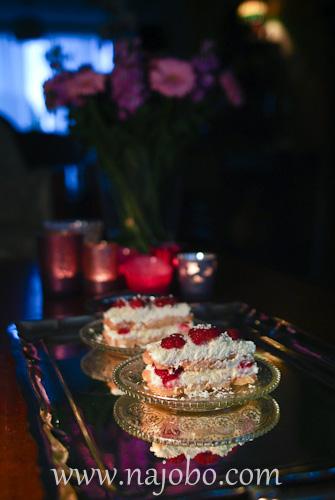 Tiramisu with summer fruit raspberry
